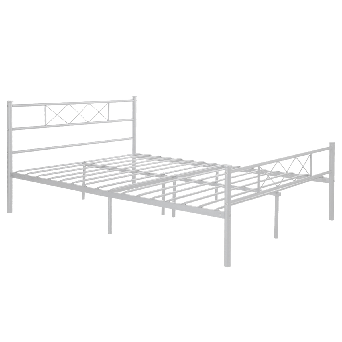 Simlife Metal Platform Bed Frame With Headboards Full White